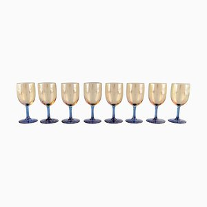 Glasses in Blue and Smoke Colored Art Glass from Baccarat, France, Set of 8