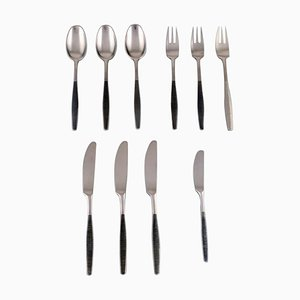 Jens H. Quistgaard Variation VI Cutlery in Handmade Stainless Steel, 1960s, Set of 10