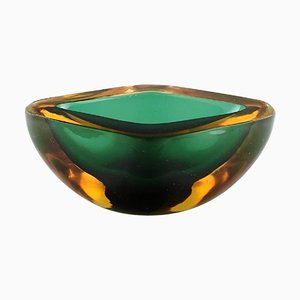 Italian Murano Bowl in Green and Amber Colored Mouth-Blown Art Glass, 1960s