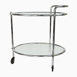 Vintage French Mirrored Glass and Chrome Drinks Trolley, 1950s