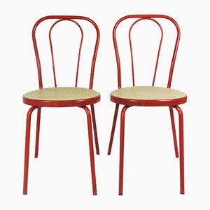 Red Painted Metal Chairs with Plastic Cane Seat, 1980s, Set of 2