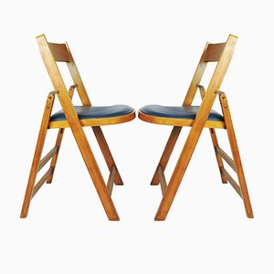 Chaises Pliantes en Bois avec Assises en Vinyle Bleu de Stoe Benchairs, Set de 2