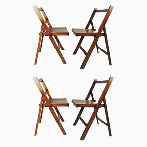 George VI Folding Campaign Chairs Used by British Military During WWII, Set of 4
