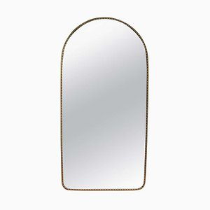 Vintage Italian Arch-Shaped Wall Mirror with Brass Frame, 1950s