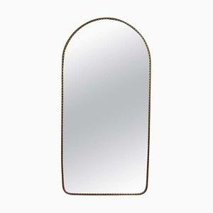 Specchio da parete a forma di arco vintage con struttura in ottone, Italia, anni '50