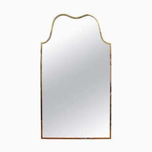 Vintage Italian Wall Mirror with Brass Frame, 1950s