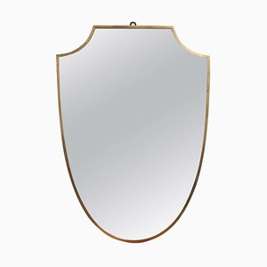 Mid-Century Italian Crest-Shaped Wall Mirror with Brass Frame, 1950s