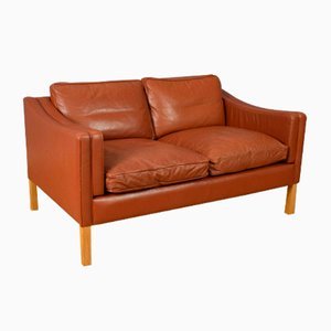 Mid-Century Danish Cognac Leather 2-Seat Sofa from Stouby, 1950s