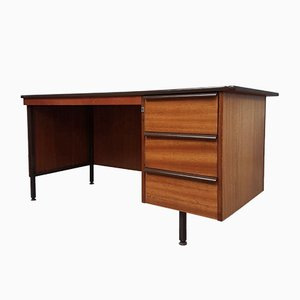 Mid-Century Industrial Pedestal Knee Hole Desk