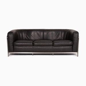 Black Leather Onda 3-Seat Sofa by Gionatan de Pas for Zanotta