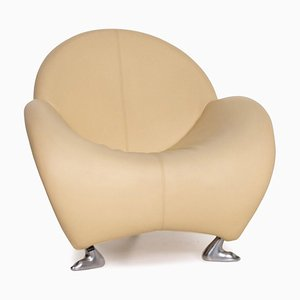 Beige Leather Papageno Armchair by Jan for Leolux
