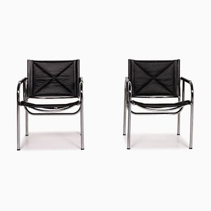 Black Leather Eichenberger 127-1 C-11 Dining Chairs from Strässle, Set of 2