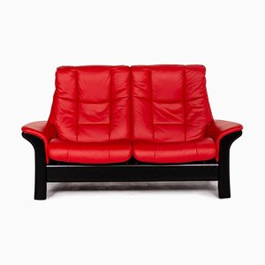 Red and Black Leather & Wood 2-Seat Sofa by Kein Designer for Stressless