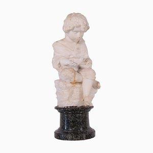 Sculpture du 19ème Siècle en Marbre d'un Enfant avec un Casquette, Italie
