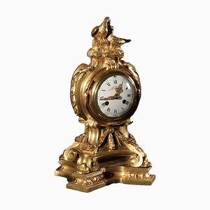 19th Century French Gilded Bronze Clock by Henry Dasso