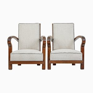 Mid-Century Walnut Open Frame Lounge Chairs, Set of 2