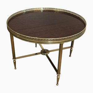 French Neoclassical Style Brass Round Coffee Table with Mahogany Veneer Top by Maison Jansen, 1940s