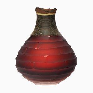 Vaso scolpito in vetro soffiato e ottone di Pia Wüstenberg