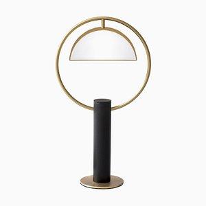 Runde quadratische Tischlampe aus Messing in Halbkreisform