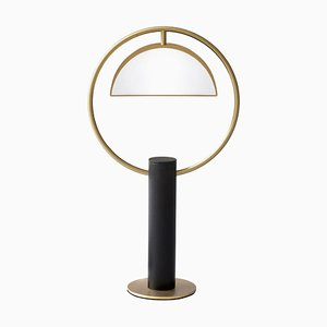 Square Brass Half in Circle Table Lamp