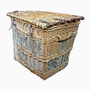Large Industrial Factory Wicker Basket on Wheels, 1920s