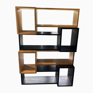 Natural & Stained Black Oak Modular Wall Unit from Habitat, 1989, Set of 4