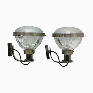 Mid-Century Modern Metall und Glas Wandlampen von Ignazio Gardella, 2er Set