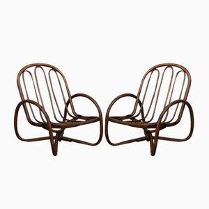 Chaises en Osier & Bambou, 1960s, Set de 2