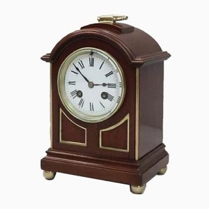 French Belle Epoque Mahogany Mantel Clock by L.P Japy, 1880s