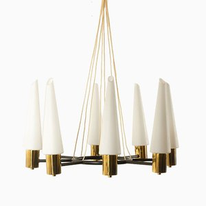 Mid-Century Brass Ceiling Lamp with Opal Glass Shades, 1960s