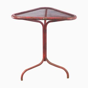 Tavolino vintage industriale arancione con rotelle