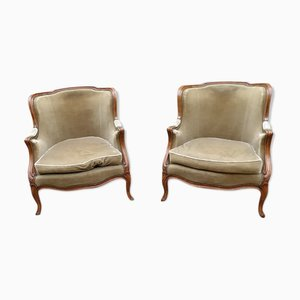 Antique Louis XV Shepherdess Lounge Chairs, Set of 2