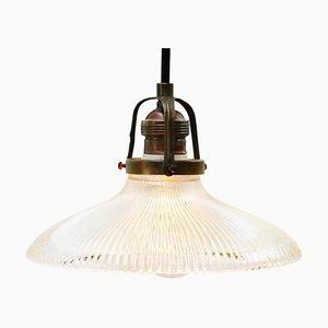 Lampada a sospensione Holophane vintage industriale in vetro