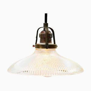 Vintage Industrial Holophane Glass Hanging Light Pendant