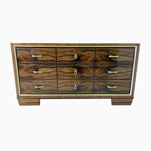 Italian Art Deco Walnut and Brass Chest of Drawers, 1930s
