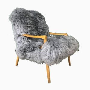 Vintage Grey Sheepskin Armchair from TON, 1960s