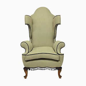 English Queen Anne Style Wing Back Armchair