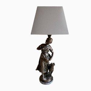 Antique Bronze Shepherdess Table Lamp, 1890s