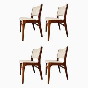 Mid-Century Teak & Wool Model 89 Dining Chairs by Erik Buch, Set of 4