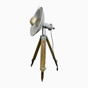 Vintage Grey Industrial Lamp on Wooden Tripod from Mechanika Praha, 1960s