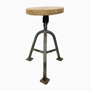 Vintage Grey Industrial Factory Stool, 1950s