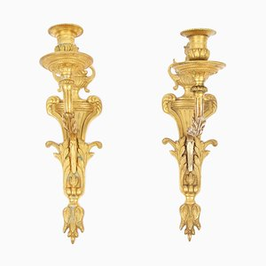 Swedish Gilt Bronze Sconces, Set of 2