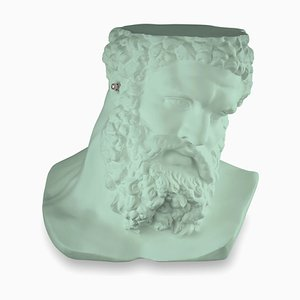 Small Bust Ercole Don't Hear Table Sculpture in Neo Mint Ceramic from Vgnewtrend, Italy