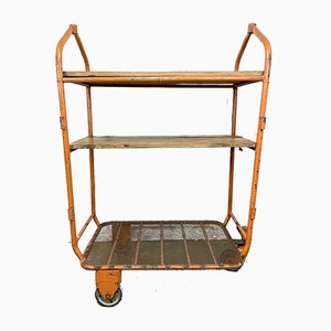 Orange Industrial Trolley with Shelves, 1960s