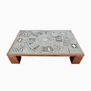Brutalist Copper Coffee Table Metal Inlay from Belgo Chrom / Dewulf Selection, 1980s