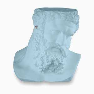Small Bust Ercole Don't Hear Table Sculpture in Purist Blue Ceramic from Vgnewtrend, Italy