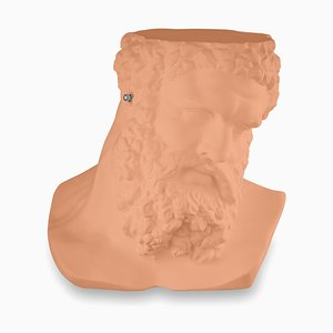 Small Bust Ercole Don't Hear Table Sculpture in Cantaloupe Ceramic from Vgnewtrend, Italy