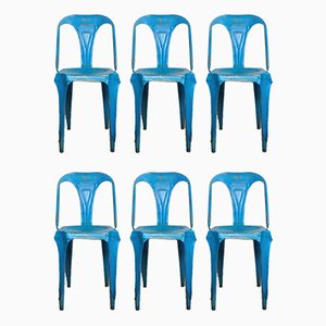 Blue Metal Bistro Chairs by Joseph Mathieu for Multipl's, 1930s, Set of 6
