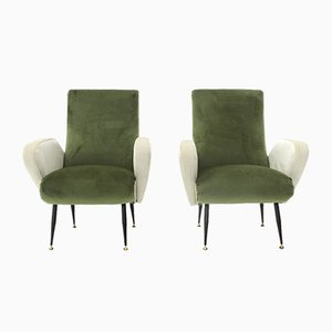 Green & White Velvet Armchairs, 1950s, Set of 2