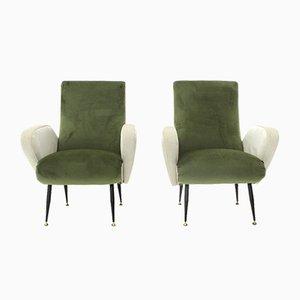 Poltrone in velluto verde e bianco, anni '50, set di 2